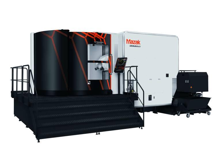 Die INTEGREX i-800V/8 kombiniert uneingeschränktes 5-Achsen-Fräsen mit leistungsstarker Drehbearbeitung und Palettenwechselfunktion für die schnelle Bearbeitung großer, hochkomplexer Werkstücke auf einer vertikalen Plattform.