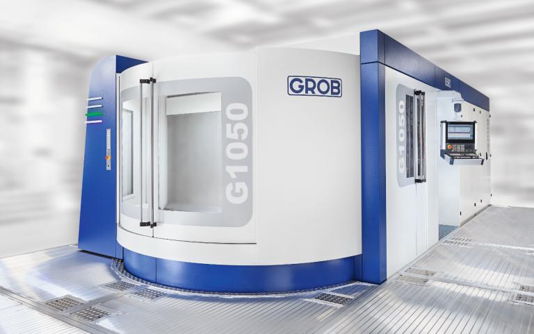 Durch sein innovatives Achsenkonzept und seine ideale Palettengröße für große Bauteile bietet das Großbearbeitungszentrum G1050 von Grob vielfältige Einsatzmöglichkeiten in unterschiedlichsten Branchen.