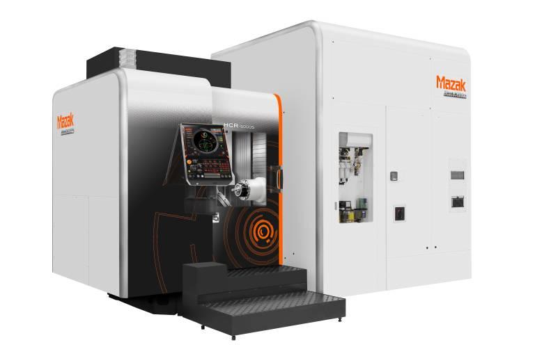Die als Weltneuheit auf der EMO präsentierte HCR-5000S wurde für die schnelle 5-Achsen-Bearbeitung von Aluminiumbauteilen konzipiert.