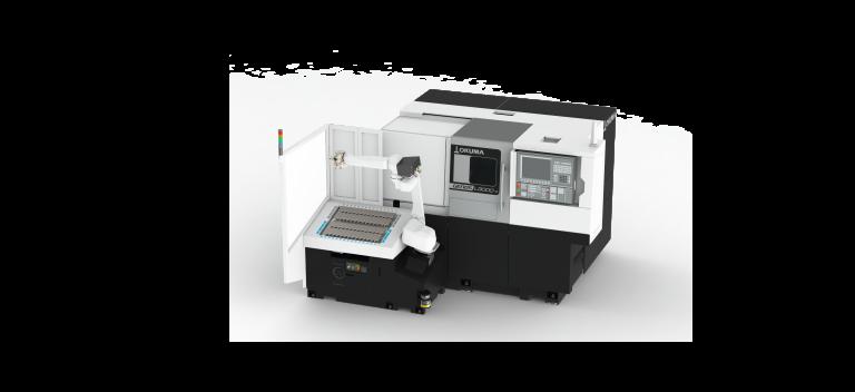 Die 1-Sattel-Drehmaschine GENOS L3000 mit der kompakten Automatisierungslösung Turn-Assist 200 von RoboJob ist für das unbemannte Be- und Entladen kleiner und mittlerer Losgrößen optimal geeignet. (Bilder: Okuma)
