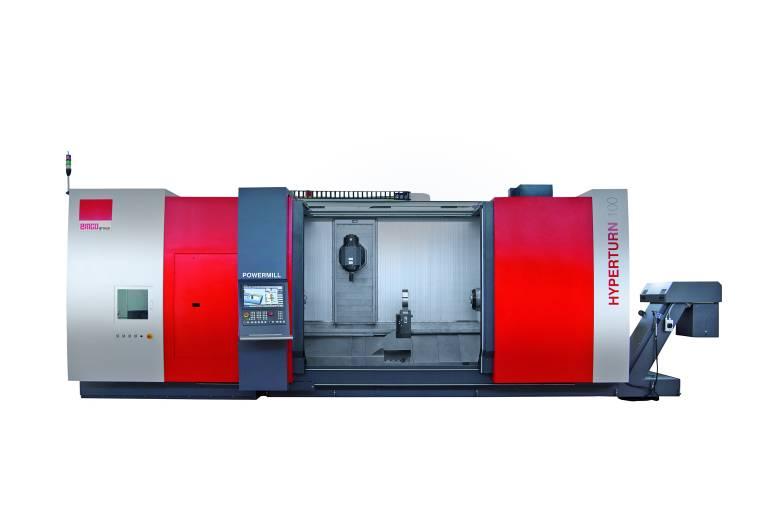 Die HYPERTURN 100 Powermill in modularer Bauweise ist eine leistungsstarke Multi-Tasking-Maschine zur Bearbeitung komplexer Werkstücke mit einem maximalen Drehdurchmesser von 720 mm und einer Drehlänge von max. 3.100 mm zwischen den Spitzen.
