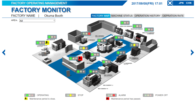 Als integraler Bestandteil von Connect Plan ermöglicht die Applikation Factory Monitor die Visualisierung der gesamten Anlage, wobei der Auslastungsstatus jeder Maschine angezeigt wird.