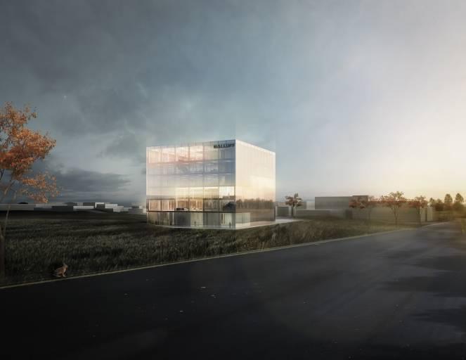 Der repräsentative Neubau an der Plieninger Straße symbolisiert die Dynamik und Zukunftsorientierung von Balluff. Die versetzten Ebenen verzahnen das Gebäude mit der Umgebung und bieten immer wieder neue Aussichten auf die umgebende Landschaft und das Firmengelände. (Bild: Grüntuch Ernst Architekten)