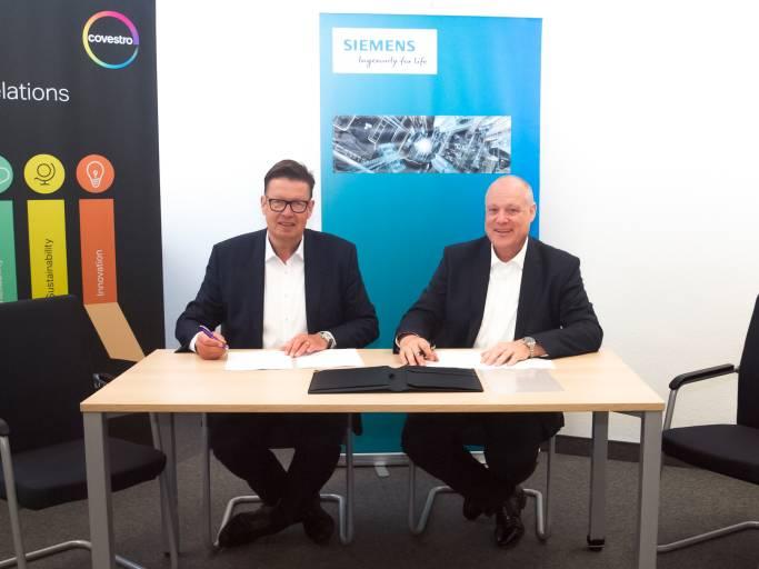 Siemens und die Covestro Deutschland AG vertiefen strategische Partnerschaft im Rahmen der Digitalisierung.