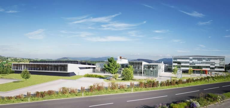 Fotomontage der neuen Schinko Produktionshalle (Ost).