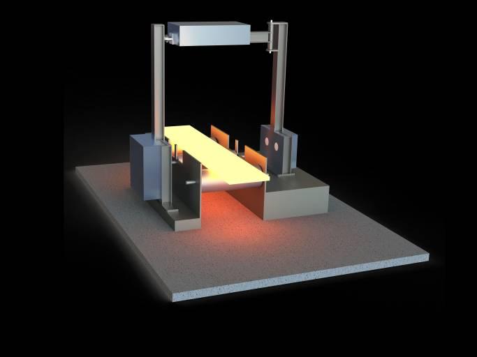 Rendering der Messtechnik von mecorad: An einem Bügel sind rund um die Walzstraße Radarsensoren angebracht, die das noch glühende Metall mikrometergenau vermessen. (Bild: mecorad)