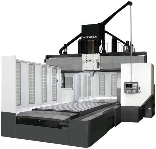 Das Portalfräszentrum MCR-A5CII von Okuma erlaubt Hochgeschwindigkeitsbearbeitungen in 5-seitigen Anwendungen. Die gusseiserne Doppelständerkonstruktion gewährleistet hohe Stabilität und Schwingungsdämpfungen.