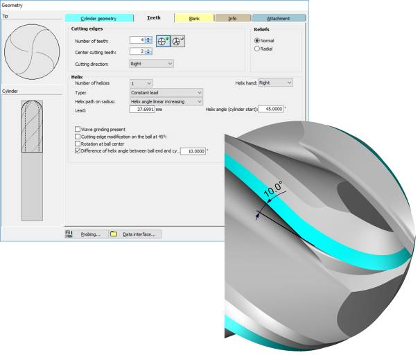 Für die Kugel- und Eckradius-Werkzeuge in NUMROTO Version 4.0 kann nun ein Drallsprung am Mantelanfang programmiert werden.