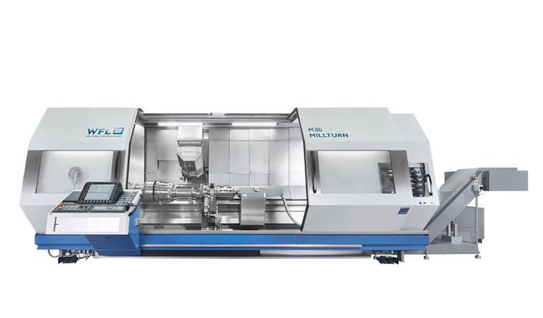 Weltpremiere feiert das Remake der M50 MILLTURN auf der AMB in Stuttgart. Die Maschine meistert Bearbeitungslängen von maximal 6.000 mm und einem Drehdurchmesser bis zu 670 mm.