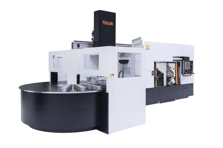 Mazak Multiplex W-200Y mit Rundschalttisch: Er bietet eine um 144 % gesteigerte Teile-Kapazität im Vergleich zum Standard-Speicher.