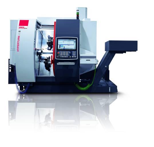HYPERTURN 45|G3 – mit zwei Spindeln und zwei Werkzeugrevolvern können komplexe Werkstücke wirtschaftlich gefertigt werden.