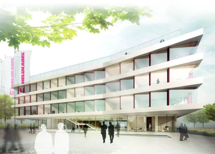 Visualisierung neue Unternehmenszentrale Helukabel. (Bild: plan b/wittfoht architekten bda)