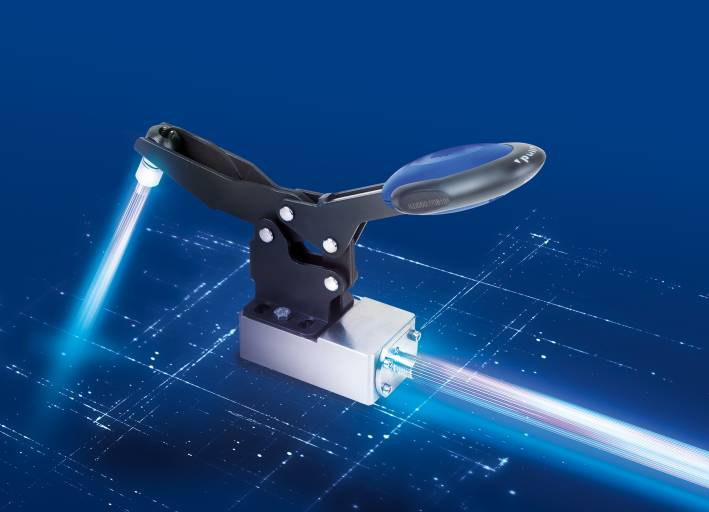 Auf der Motek zeigt Kipp unter anderem die innovative Produktlinie FEATURE grip, zu der ein Schnellspanner mit Kraftsensor gehört.