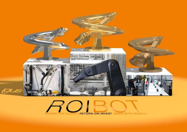 Der ROIBOT Award zeichnet spannende und innovative Einsätze mit Low-Cost- Robotics aus. Der Gewinner erhält ein Preisgeld von 5.000 Euro. Der zweite und dritte Platz kann sich über 2.500 und 1.000 Euro freuen. (Quelle: igus GmbH)