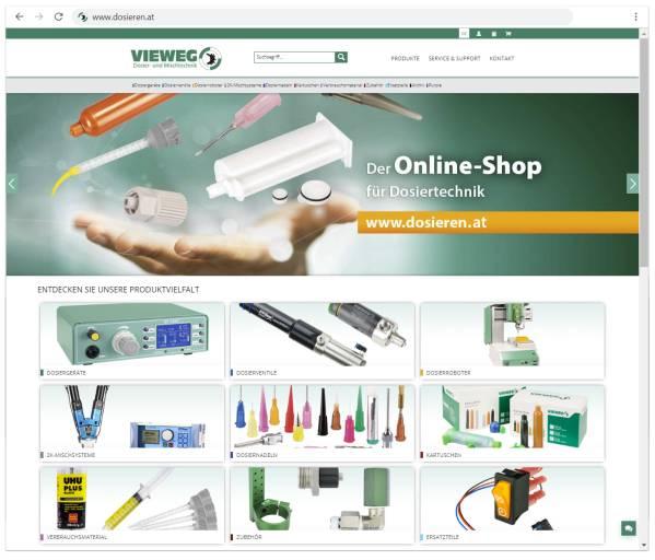 Unter www.dosieren.at bietet Vieweg ca. 1.500 Artikel aus den Bereichen Dosierung, Automatisierung, Verbrauchsmaterialien und Zubehör an.