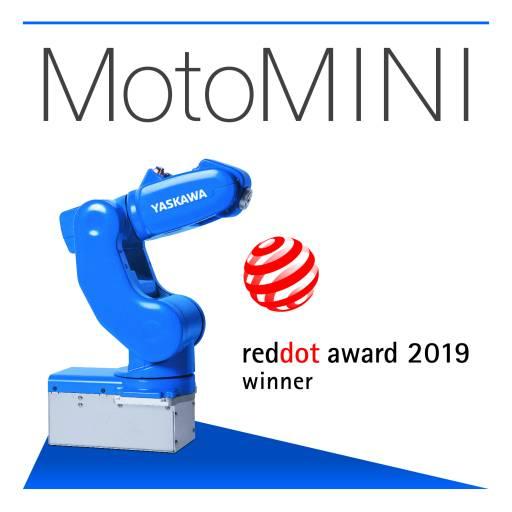 """Bei Yaskawa auf der Motek zu sehen: der kompakte Highspeed-Roboter MotoMINI, der 2019 mit dem Designpreis """"Red Dot Award: Product Design"""" ausgezeichnet wurde."""