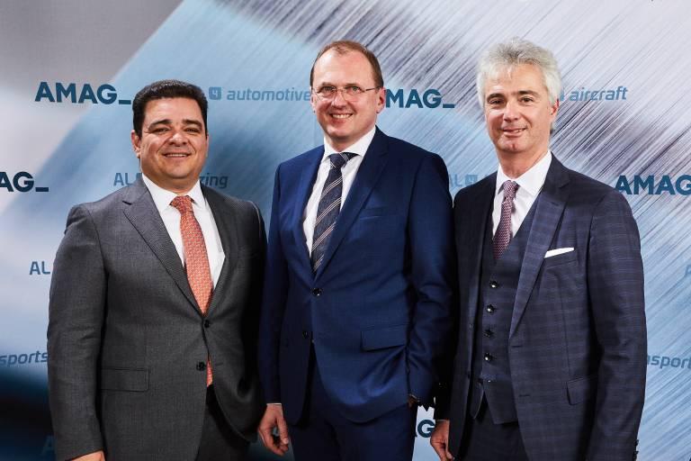 AMAG Austria Metall AG Vorstand (v.l.n.r.): Vertriebsvorstand (CSO) Victor Breguncci, MBA, Vorstandsvorsitzender (CEO) Mag. Gerald Mayer und Technikvorstand (COO) Priv.- Doz. Dr. Helmut Kaufmann.