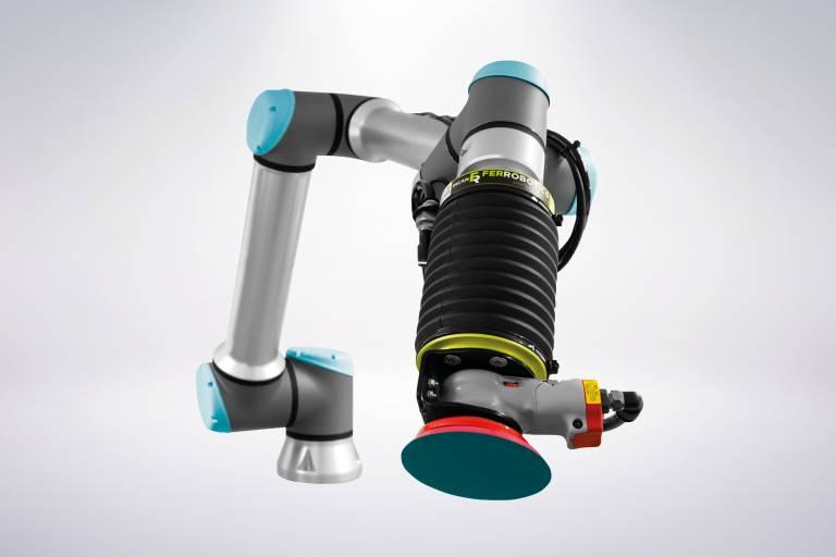 Der Active Orbital Kit 905 von FerRobotics wurde speziell zum Schleifen und Polieren mit Cobots von Universal Robots entwickelt.