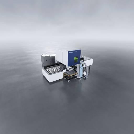 Trumpf hat den SortMaster Compact in die Maschine integriert, geschützt von einer beweglichen Haube.