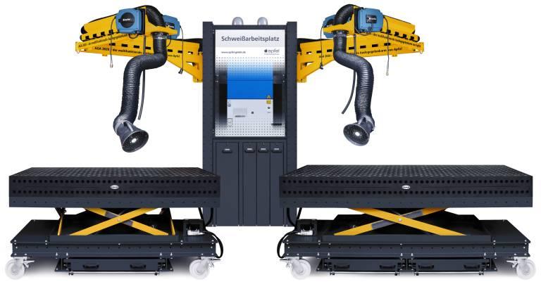 Der Schweißarbeitsplatz SAP von Apfel vereint größtmögliche Arbeitssicherheit, geringen Platzbedarf, hohen Bedienkomfort und maximale Produktivität.