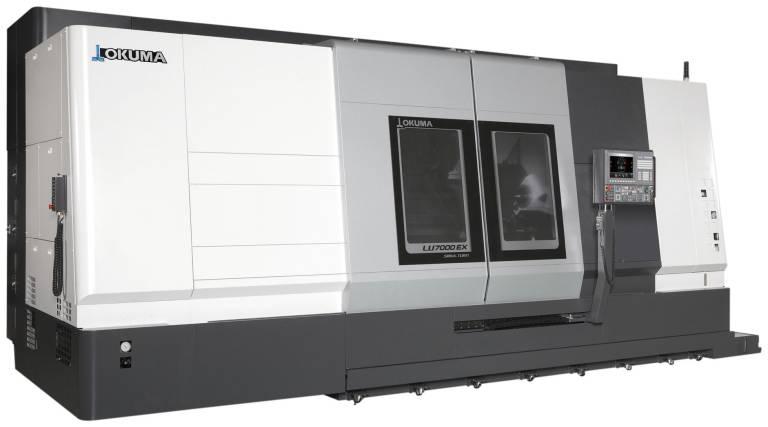 Die 2-Sattel-Drehmaschine LU7000 EX bietet hohe Produktivität und Maßhaltigkeit bei der Bearbeitung großer Werkstücke.