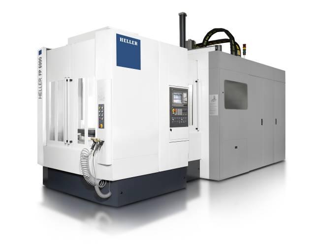 Die FP 6000 von Heller kombiniert höchste Präzision mit sehr hoher Leistung: Das 5-Achs-Bearbeitungszentrum bietet Verfahrwege von (X/Y/Z) 1.000 x 1.000 x 1.300 mm und verfügt über eine horizontale Grundausrichtung. Der Tisch, mit einer maximalen Aufspannmasse von 1.400 kg und einer Aufspannfläche von 630 x 630 mm, verfährt in Z-Richtung, die fünfte Achse befindet sich im Werkzeug.