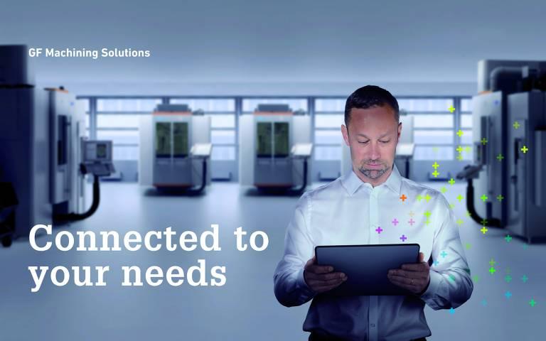 """Unter dem Motto """"Connected to your needs"""" präsentiert sich GF Machining Solutions auf einer Standfläche von 1.156 Quadratmetern. Das kundenorientierte Ausstellungsangebot umfasst eine breite Palette an zukunftsorientierten und intelligenten Lösungen."""