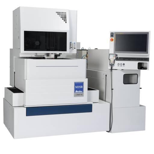 Klein in den Abmessungen, groß in Leistung und Ausstattung: Die Seibu M-35B ist die kleinste Maschine der Baureihe. Dennoch ist sie mit kompakter Präzision und einer Teilungsgenauigkeit von +/- 3 µm und einem Drahtdurchmesser von 0,1 bis 0,3 mm für den anspruchsvollen Anwender geeignet.