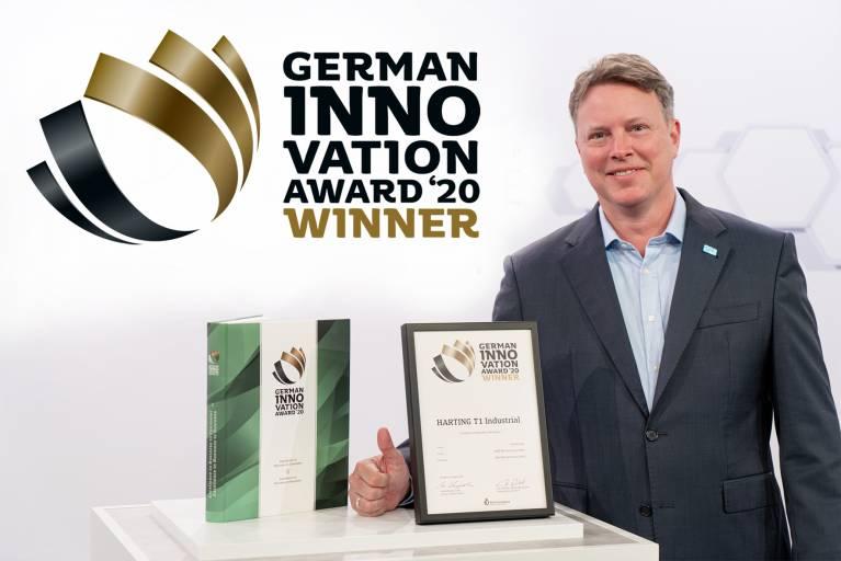 Ralf Klein, Geschäftsführer Harting Electronics, freut sich über den German Innovation Award 2020 für das HARTING T1 Industrial SPE Interface.