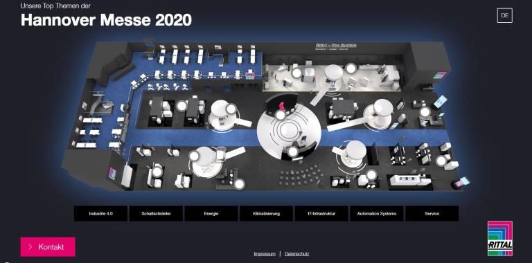 Hannover Messe Digital Days 2020: Rittal stellt seine Neuheiten zur industriellen Transformation web-basiert über einen virtuellen Messestand sowie per Video-Präsentationen live aus dem Rittal Innovation Center vor. Quelle: Rittal GmbH