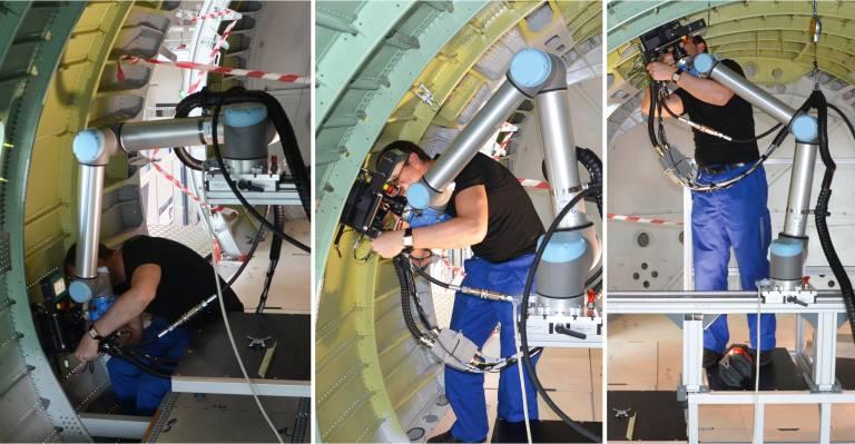 Montage einer Stringer-Kupplung mithilfe eines kollaborativen Roboters im Flugzeugrumpf.