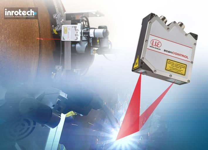 Der Laser-Profil-Scanner von Micro-Epsilon ist am Schweißroboter fixiert und erfasst die Geometrie der zu schweißenden Naht, bevor der eigentliche Schweißprozess beginnt.