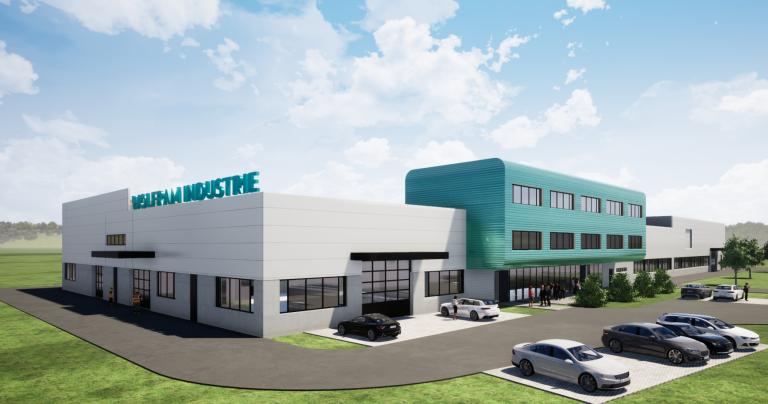 Im Frühjahr 2023 soll die neue Firmenzentrale der Gesellschaft für Wolfram Industrie mbH in Nussdorf bei Traunstein fertiggestellt werden. (Bild: Hinterschwepfinger Projekt GmbH)