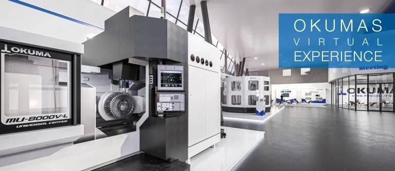 The Virtual Experience of Okuma Europe bietet einen fotorealistischen Eindruck der Okuma-Europazentrale in Krefeld. Kunden gewinnen u. a. einen Eindruck über den Empfang, das Lager, die Spindelreparatur und das neue Engineering Center.