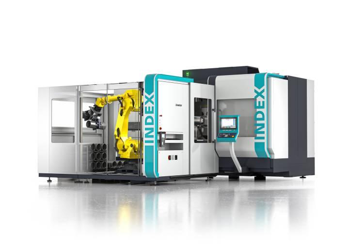 Drehzentrum Index G400 mit der modularen Roboterzelle iXcenter für die leistungsstarke Bearbeitung von großen Werkstücken.