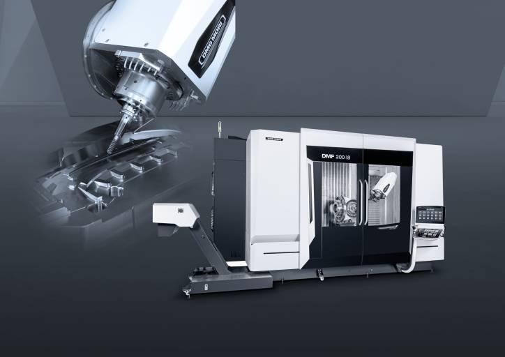 In der fünfachsigen Bearbeitung von langen Werkstücken bis zu 2.300 mm setzt die DMF 200|8 ihre Erfolgsgeschichte unter den Fahrständermaschinen fort.
