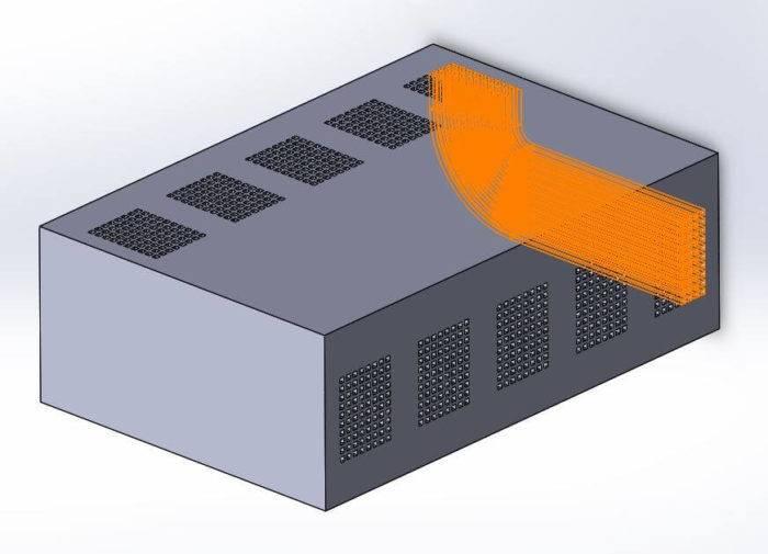CAD-Ansicht eines Bauteils mit gekrümmten Vias, die leitende Verbindungen zwischen Halbleiterschichten in integrierten Schaltungen ermöglichen. (Bild: BMF Precision Inc.)