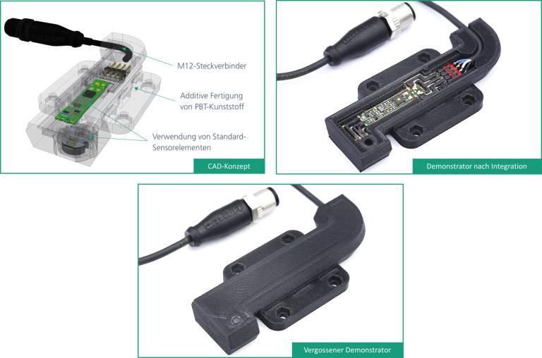 Demonstrator des individualisierten Sensors in den unterschiedlichen Fertigungsstufen: CAD-Konzept (oben links), nach der Integration der elektronischen Komponenten (oben rechts) und als fertiger Demonstrator (unten). (Bild: Fraunhofer IPA)