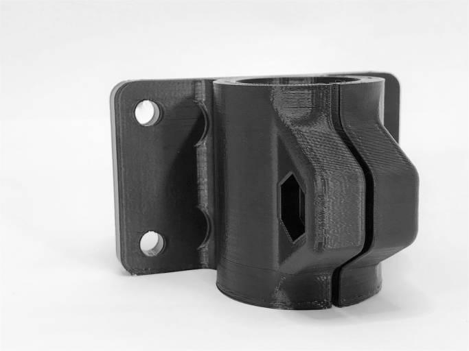 3D-gedruckte Halterung aus LUVOCOM 3F eco PET 50291 BK.