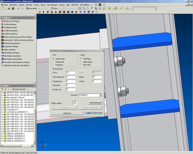 ASi-Profile unterstützt den Konstruktionsprozess von Stahlbaugruppen mit Autodesk Inventor von der Entwurfskizze bis zum Einbau beliebiger Stahlbauprofile und ihrer typischen Verbindungen und Verschraubungen.