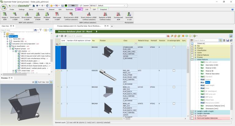 Links wird die Klassifikation nach Warengruppen angezeigt, rechts die Stücklistenstruktur mit 3D-Ansichten.