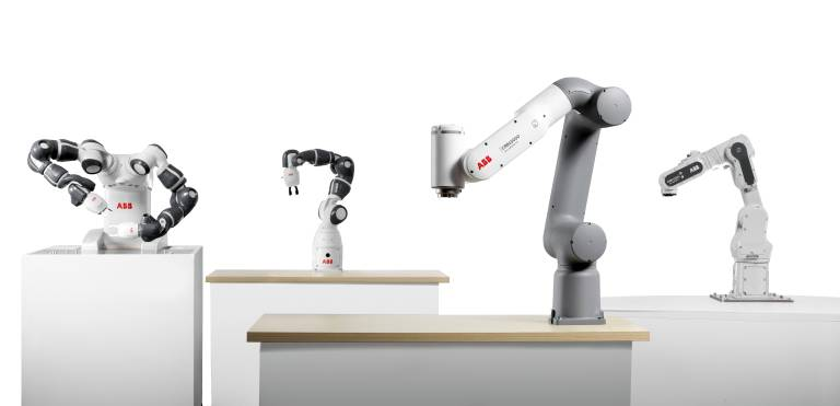 Zusammen mit dem Zweiarm- und Singlearm-Yumi bilden GoFa und SWIFTI die nächste Generation von ABBs Cobots, die Schlüsselaufgaben einfach und sicher automatisieren.