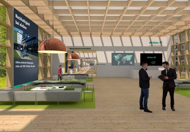 Im Eingangsbereich befinden sich die Geschäftsführer von elobau als virtuelle Personen, um die Gäste in Empfang zu nehmen.