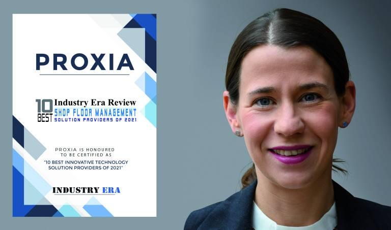 """Die Proxia Software AG wurde mit dem """"10 Best Shop Floor Management Solution Providers of 2021"""" Award des Industry Era Magazine (USA) für ihr innovatives Lösungskonzept """"Digitaler Zwilling von Verbesserungsmaßnahmen mit der PROXIA OEE/KVP-Methode"""", ausgezeichnet."""