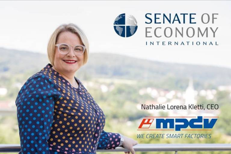 Nathalie Lorena Kletti ist Geschäftsführerin von MPDV und Senatorin im Senate of Economy International. (Bildquelle: MPDV)