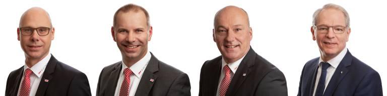V.l.n.r.: Die nunmehr vier Geschäftsführer der ipf electronic gmbh freuen sich auf eine erfolgreiche Zusammenarbeit:  Dirk Neuhaus, Christian Fiebach, Detlef Rössel und Bodo Hano. (Bild: ipf electronic gmbh)