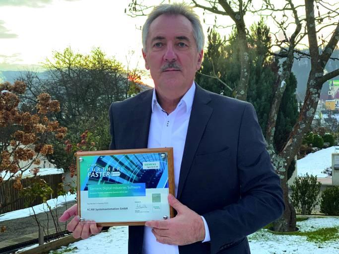 Beim European Partner Leadership Summit von Si-mens Digital Industries Software erhielt Acam Systemautomation bereits zum 12. Mal den Preis als Top-Partner in Österreich. Die Übergabe an Acam-Geschäftsführer Ing. Johann Mathais erfolgte wie die gesamte Veranstaltung zeitgemäß online.
