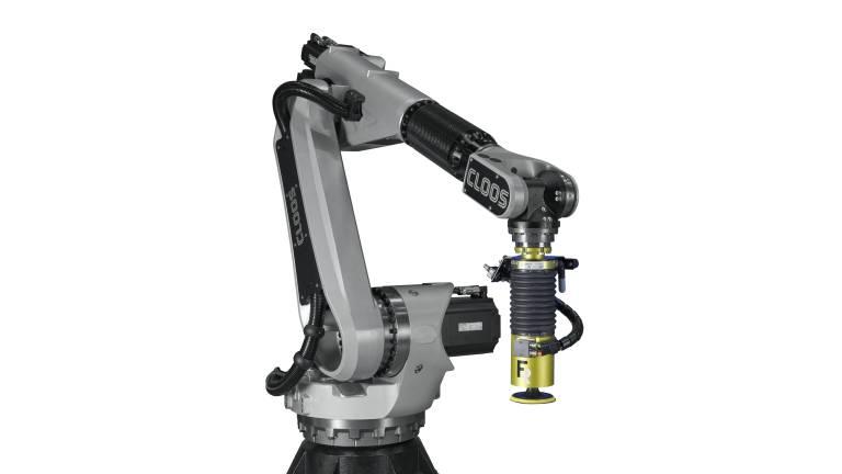 Der QIROX-Roboter QRC-30/45/60-PL von Cloos und die vielfältigen, sensitiven End-Effektoren (im Bild der AAK) von FerRobotics bilden eine Symbiose für kundenspezifische automatisierte Schleiflösungen.