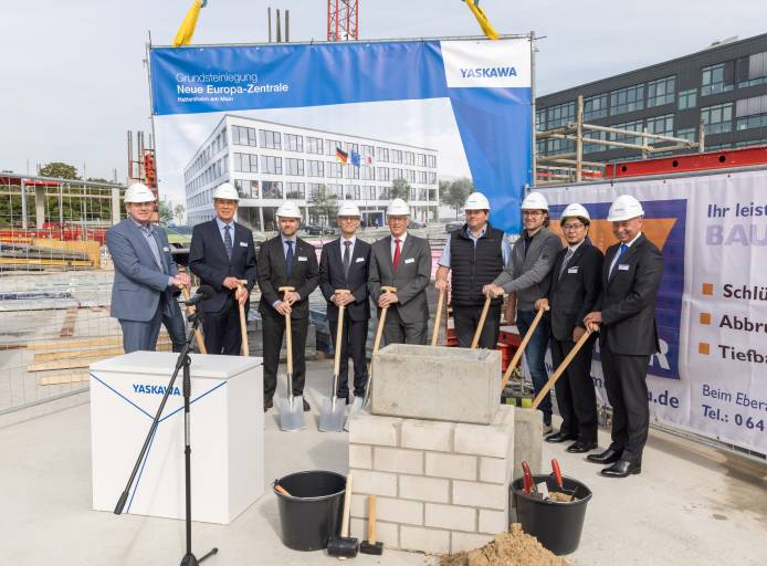 Am 22. September legte Yaskawa offiziell den Grundstein für die neue Europazentrale in Hattersheim am Main bei Frankfurt. (Bild: Yaskawa Europe/Holger Meckbach)
