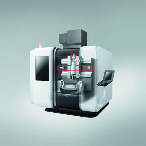 Mit den Fortschritten bei der Entwicklung von Kugelgewindetrieben (hier rot markiert) verbessert NSK das Leistungspotenzial von Hochpräzisions-Werkzeugmaschinen.